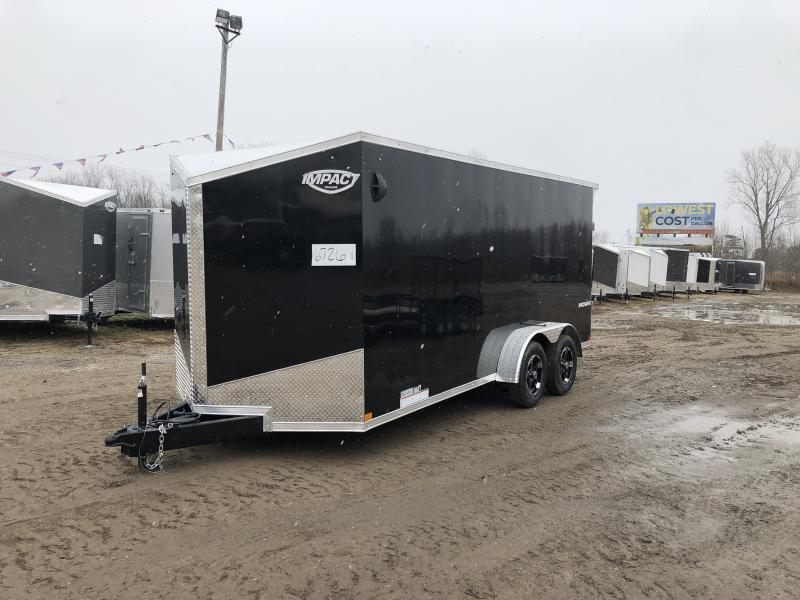 Impact Trailers Shockwave 7x16 Black V-Nose Ramp Enclosed Cargo Trailer w/ 6ft 6in Interior