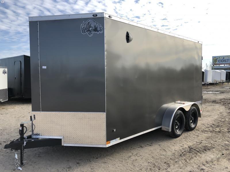 Rhino Trailers SAFARI 7x14 Charcoal V-Nose Ramp Door Enclosed Cargo Trailer w/7ft Interior height
