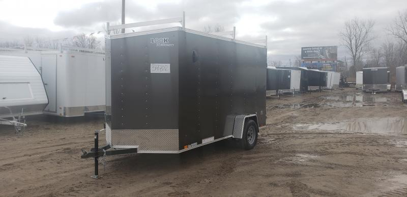 Look Trailers 6X12 V-Nose Barn Door Enclosed Trailer Charcoal w/ 6ft 6in Interior height & Ladder Rack