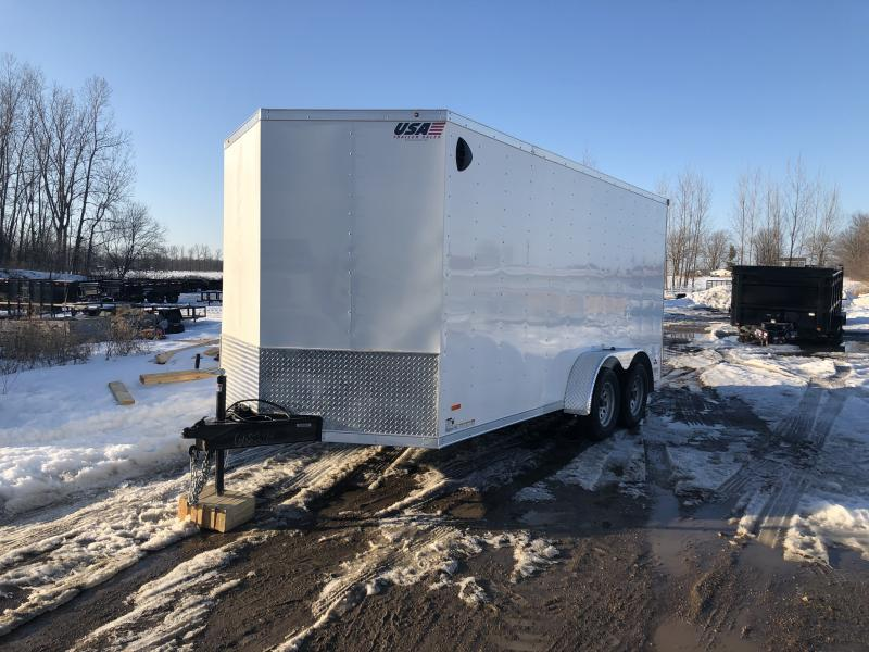 MTI Trailers MDLX 7x16TA Enclosed Cargo Trailer White w/ 6ft 6in Interior Height