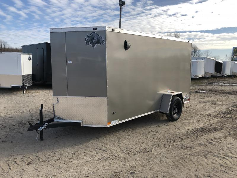 Rhino Trailers CUB 6x12 Pewter V-Nose Ramp Door Enclosed Cargo Trailer