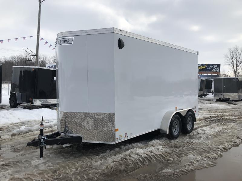 Haulmark Transport 7x14 V-Nose Ramp Door Enclosed Trailer White 7ft Interior