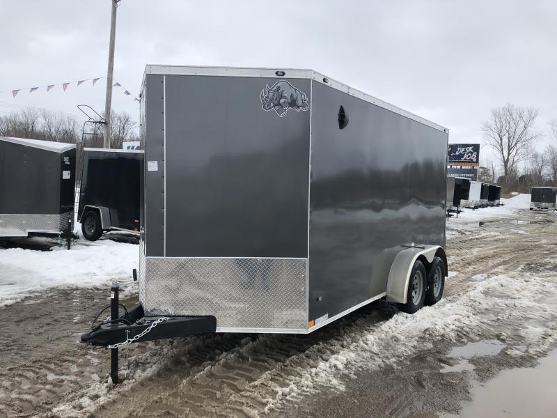 Rhino Trailers SAFARI 7x14 Charcoal V-Nose Ramp Door Enclosed Cargo Trailer w/6ft 6in Interior height