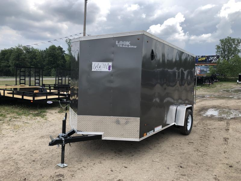 Look Trailers 6X12 V-Nose Ramp Door Enclosed Trailer Charcoal