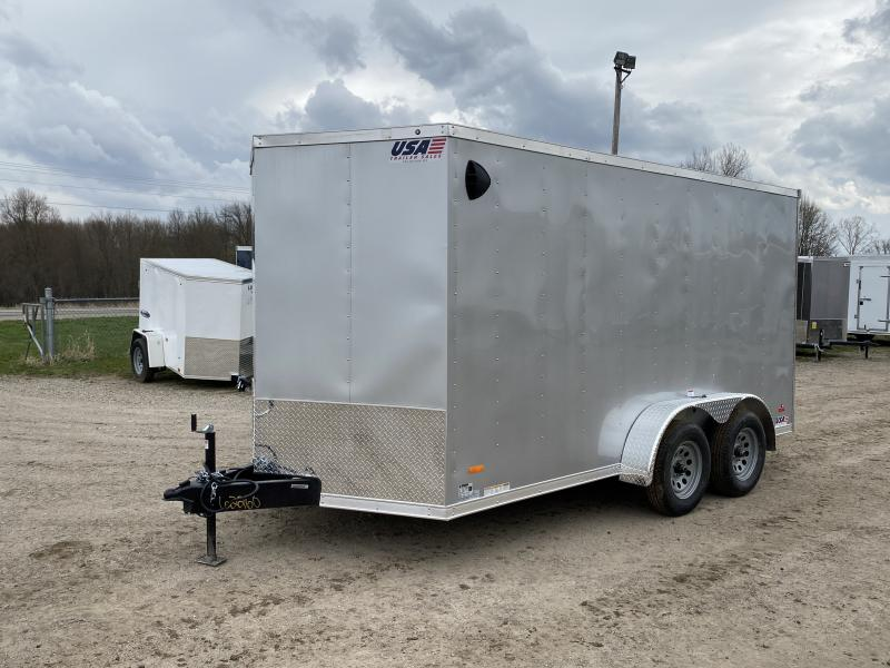 MTI Trailers MDLX 7x14TA Enclosed Cargo Trailer Silver w/ 6ft 6in Interior Height