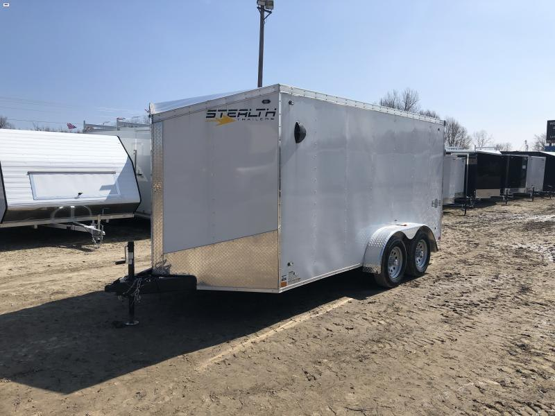 Stealth Trailers White 7X14 V-Nose Ramp Door Enclosed Cargo Trailer