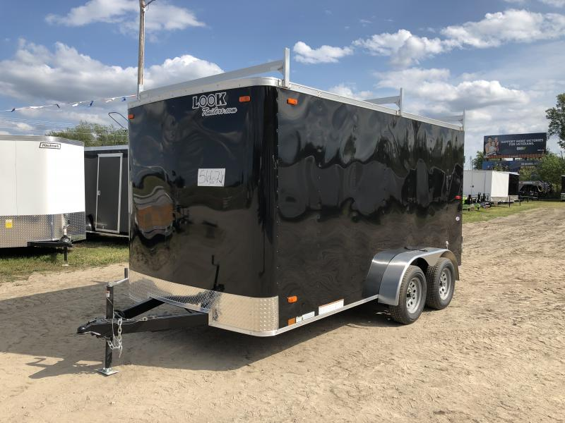 Look Trailers 7x14 Barn Door Enclosed Trailer Black w/ 6ft 6in Interior height and Ladder Racks