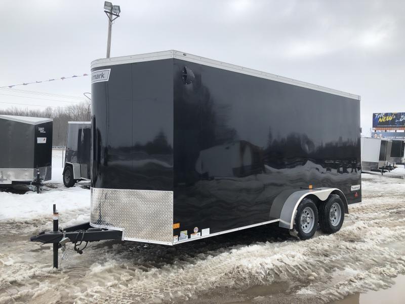 Haulmark Transport 7x16 V-Nose Ramp Door Enclosed Trailer Black 7ft Interior