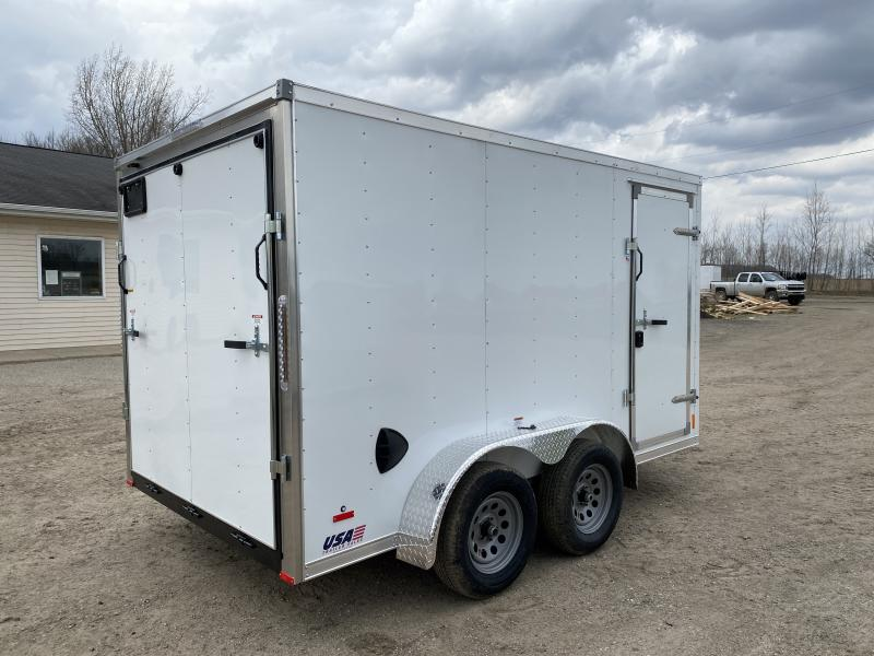MTI Trailers MDLX 7x12 Tandem Axle Enclosed Cargo Trailer White w/ 6ft 6in Interior Height