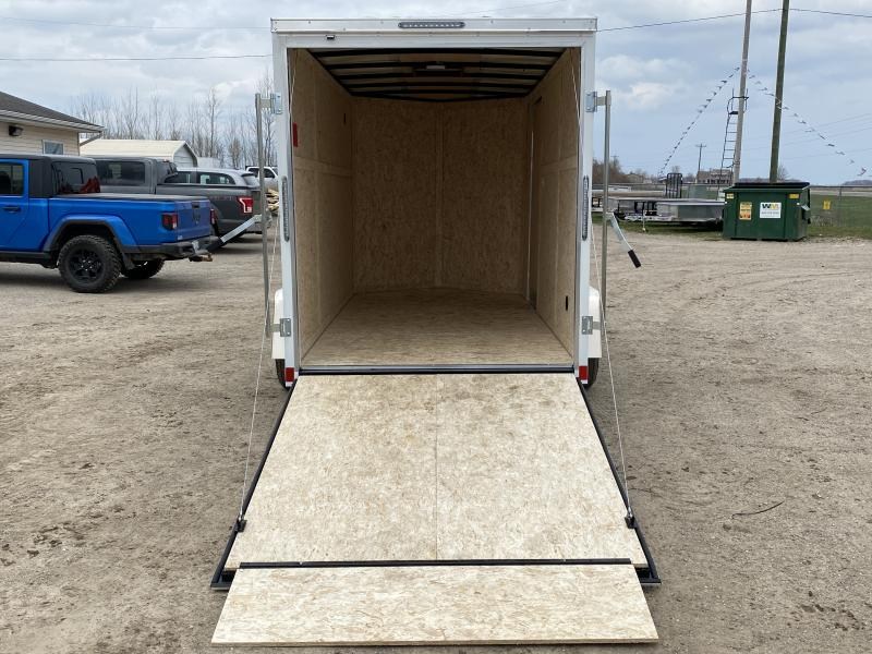 Rhino Trailers CUB 6x12 White V-Nose Ramp Door Enclosed Cargo Trailer W 6ft 6in Interior Height
