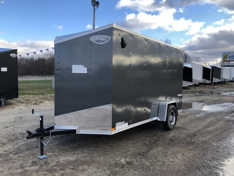 Impact Trailers Impact Tremor 6x12 V-Nose Ramp Enclosed Cargo Trailer Charcoal w/6'6