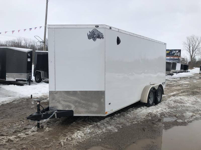 Rhino Trailers SAFARI 7x16 White V-Nose Ramp Door Enclosed Cargo Trailer w/6ft 6in Interior height