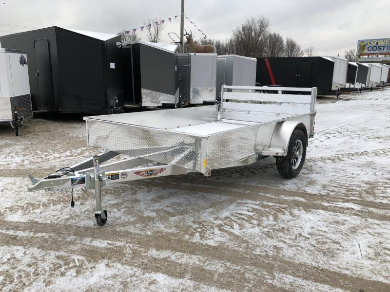 H and H 76x10 Solid Side Aluminum Utility Trailer w/ Aluminum Deck