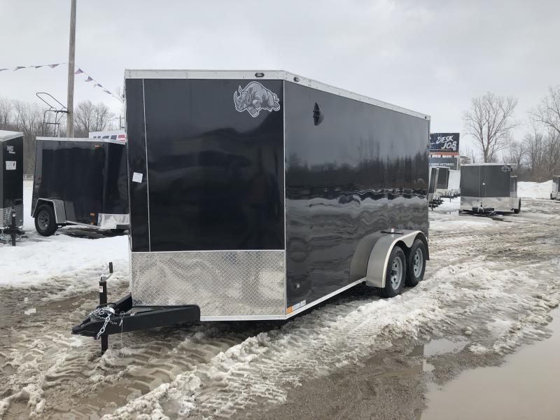 Rhino Trailers SAFARI 7x14 Black V-Nose Ramp Door Enclosed Cargo Trailer w/6ft 6in Interior height