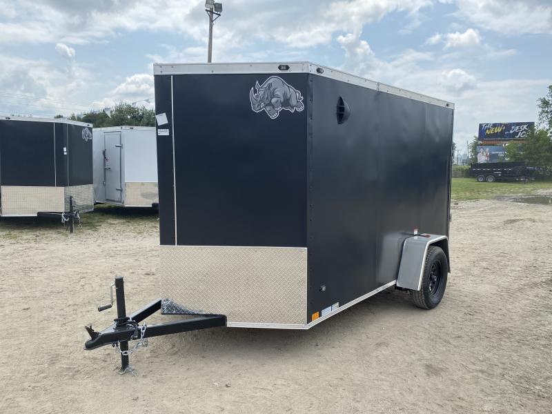 Rhino Trailers CUB 6x10 Black V-Nose Ramp Door Enclosed Cargo Trailer