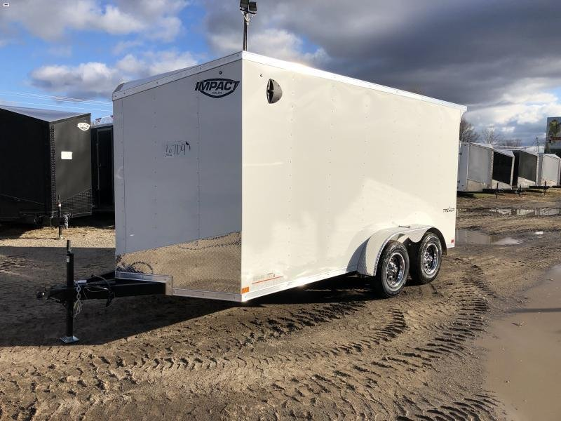 Impact Trailers Impact Tremor 7x14 White V-Nose Ramp Enclosed Cargo Trailer w/ 6ft 6in Interior