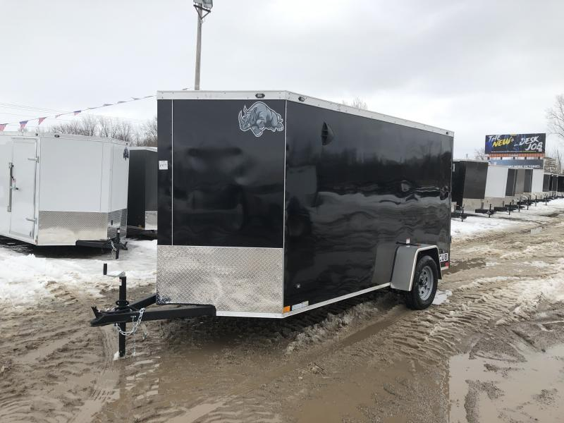 Rhino Trailers CUB 6x12 Black V-Nose Ramp Door Enclosed Cargo Trailer