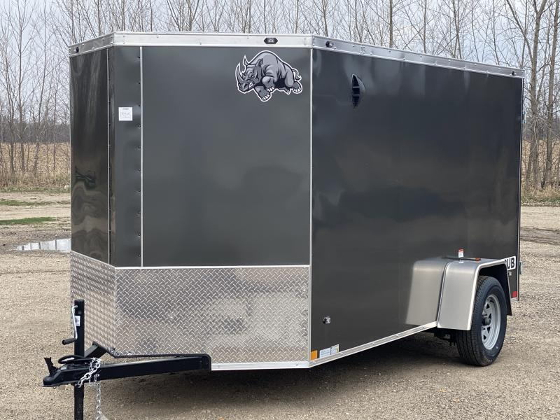 Rhino Trailers CUB 6x12 Charcoal V-Nose Ramp Door Enclosed Cargo Trailer