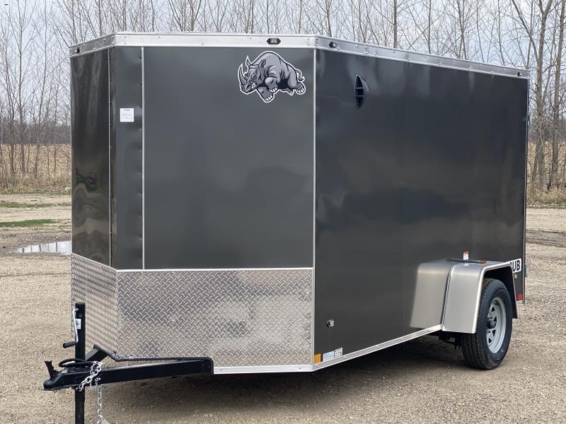 Rhino Trailers CUB 6x12 Charcoal V-Nose Ramp Door Enclosed Cargo Trailer