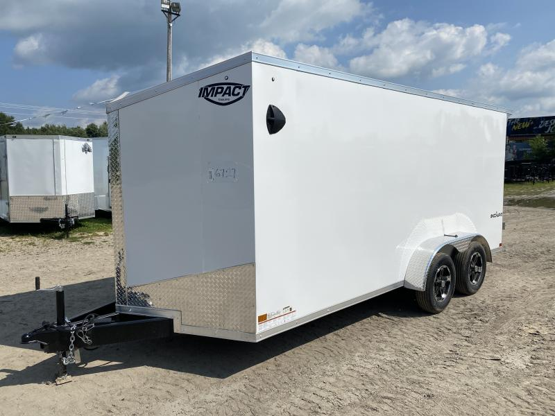 Impact Trailers Shockwave 7x14 White V-Nose Ramp Enclosed Cargo Trailer w/ 6ft 6in Interior