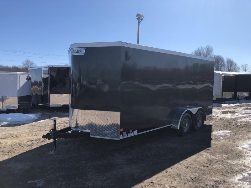 Haulmark Transport 7x16 V-Nose Ramp Door Enclosed Trailer Black 6ft 6in Interior