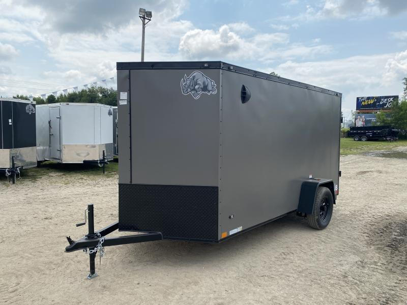 Rhino Trailers CUB 6x12 Charcoal/ Black Out V-Nose Ramp Door Enclosed Cargo Trailer