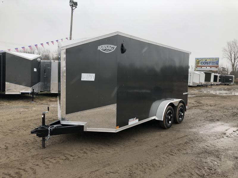 Impact Trailers Shockwave 7x14 Charcoal V-Nose Ramp Enclosed Cargo Trailer w/ 6ft 6in Interior