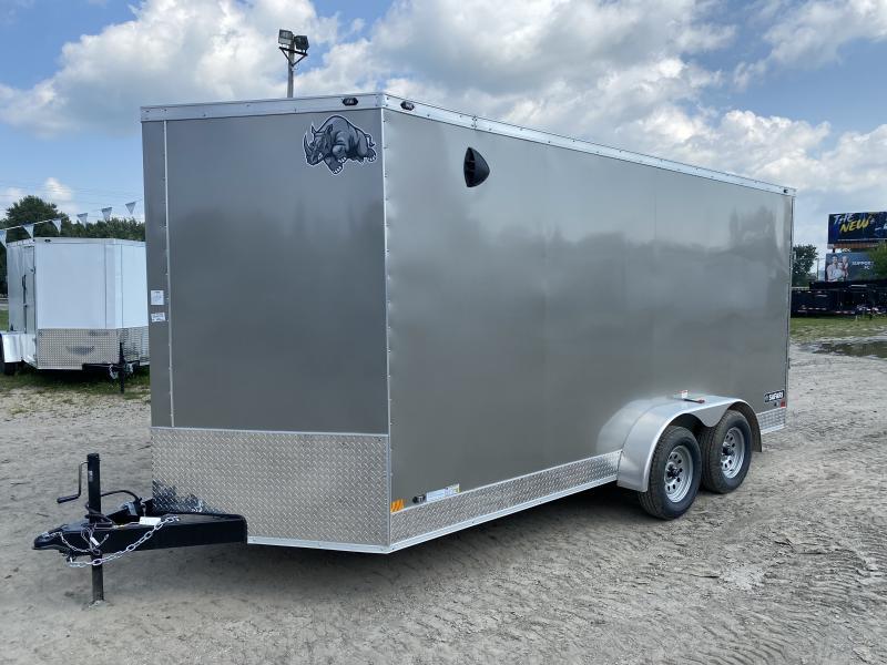 Rhino Trailers SAFARI 7x16 Pewter V-Nose Ramp Door Enclosed Cargo Trailer w/7ft Interior height