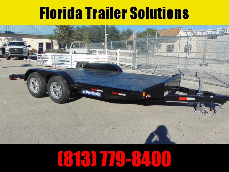 New Sure-Trac 7X16 (12+4) Steel Deck 7k Car Hauler