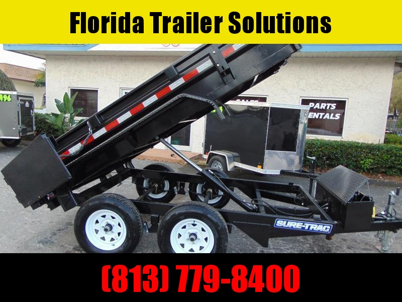 New Sure-Trac 5X10 Low Profile 7k Single Ram Dump Trailer w/Battery Charger