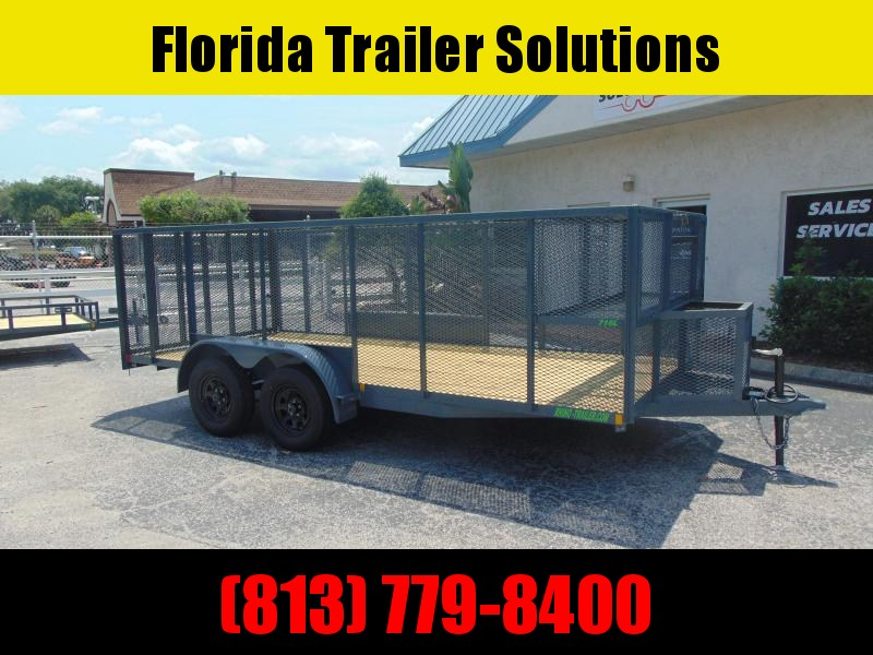 New Rhino Trailers 7X16 Tandem Axle Extreme Landscape 7k Tube Top Utility Trailer