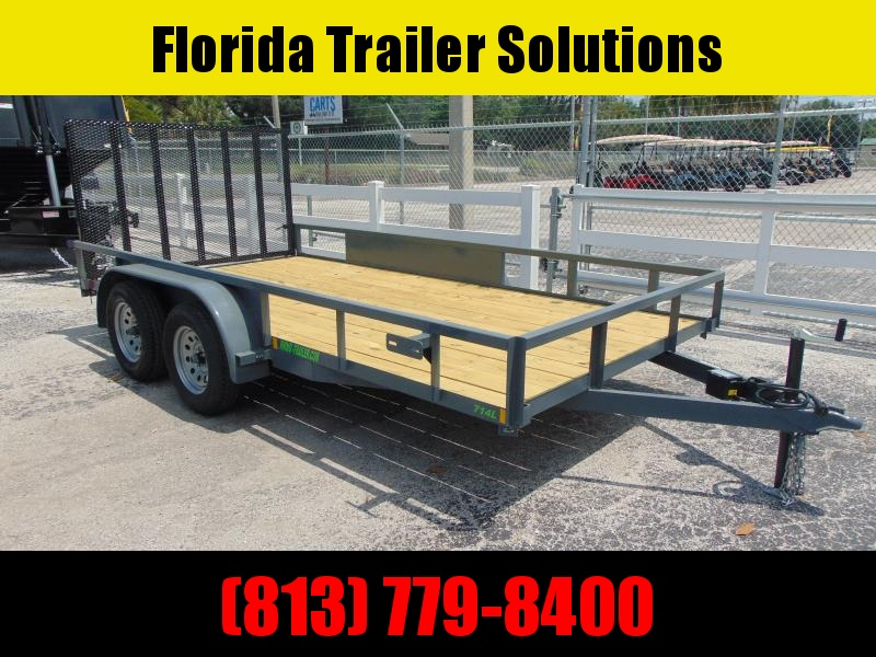 New Rhino Trailers 7X14 Tandem Axle 7k Tube Top Utility Trailer