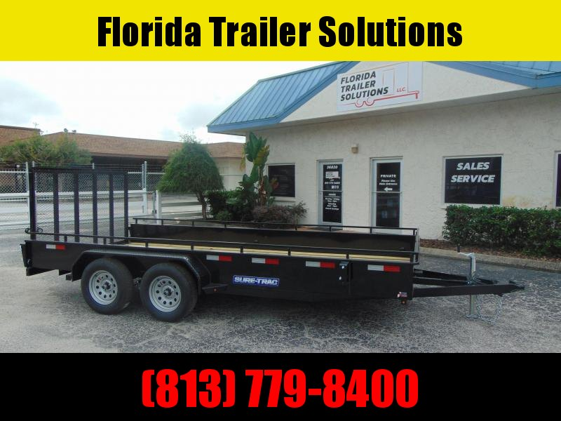 2021 Sure-Trac 7X16 Tandem Axle 7k Steel High Side Utility Trailer