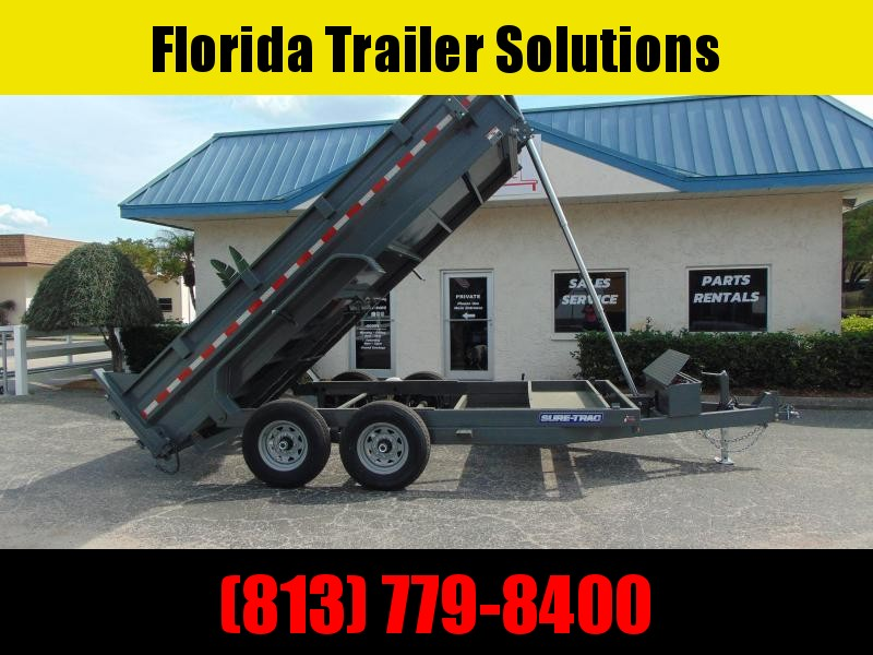New Sure-Trac 82X14 Low Profile 14k Telescopic Dump Trailer w/Hydraulic Jack