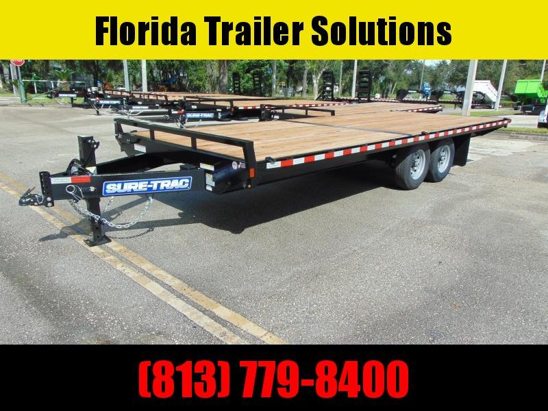 New Sure-Trac 8.5x18 Flatbed Deckover 15K Equipment Trailer