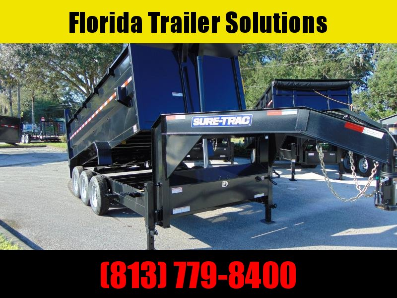 New Sure-Trac 82X16 Low Profile Tri-Axle 21k Telescopic Dump Trailer w/4' Sides