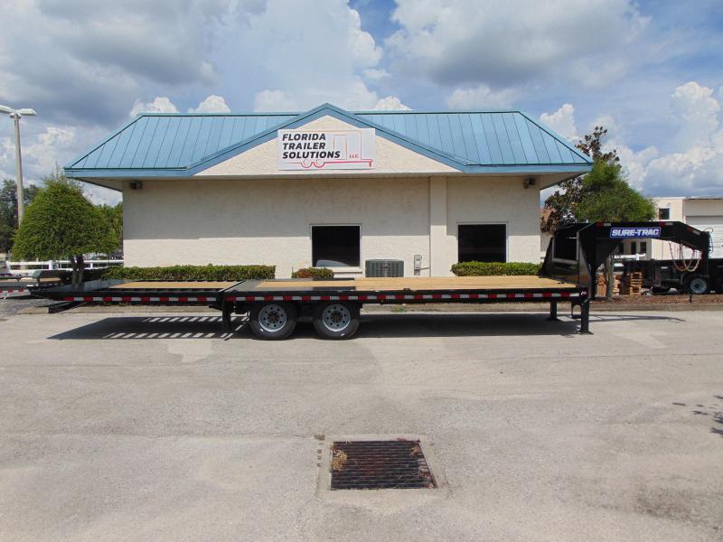 NEW 2021 Sure-Trac 8.5X20+10 Gooseneck 25.9K Low Pro Hydraulic Beavertail Equipment Trailer w/Hydraulic Jacks