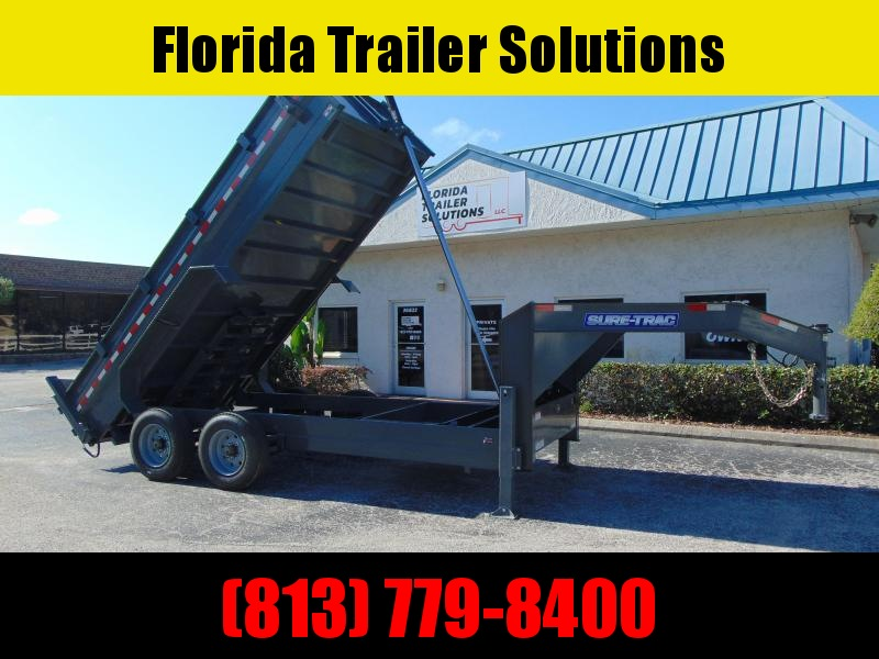 New Sure-Trac 82X16 20k Gooseneck Dump Trailer