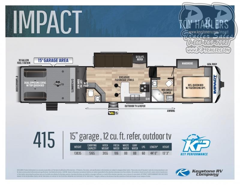 """2020 Keystone RV Impact 415 540 """" Toy Hauler RV"""
