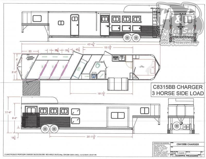 2021 Lakota Charger C8415BBRSL w/ Bunks 4 Horse Slant Load Trailer 15 FT LQ With Slides w/ Ramps