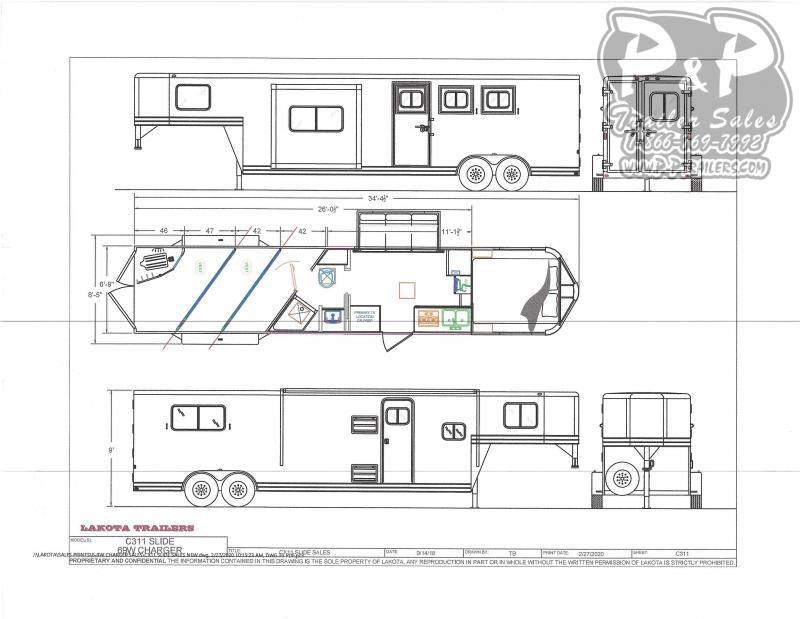 2021 Lakota Charger C311 3 Horse Slant Load Trailer 11 FT LQ With Slides