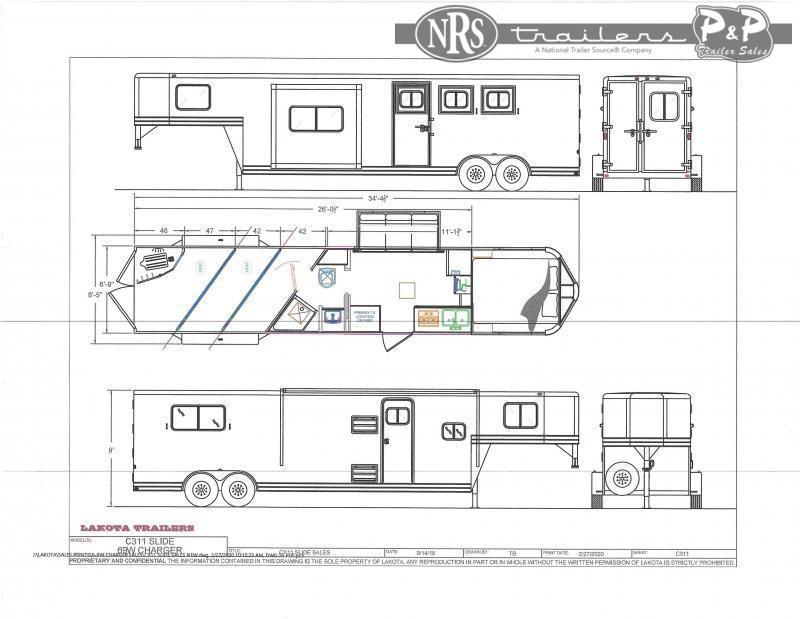 2022 Lakota Charger C311 3 Horse Slant Load Trailer 11 FT LQ With Slides