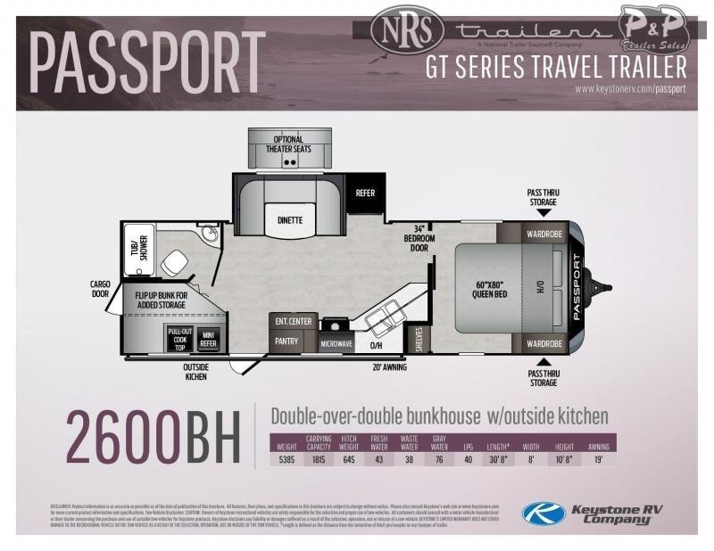 "2021 Keystone RV Passport GT 2600BH 368 "" Travel Trailer RV"
