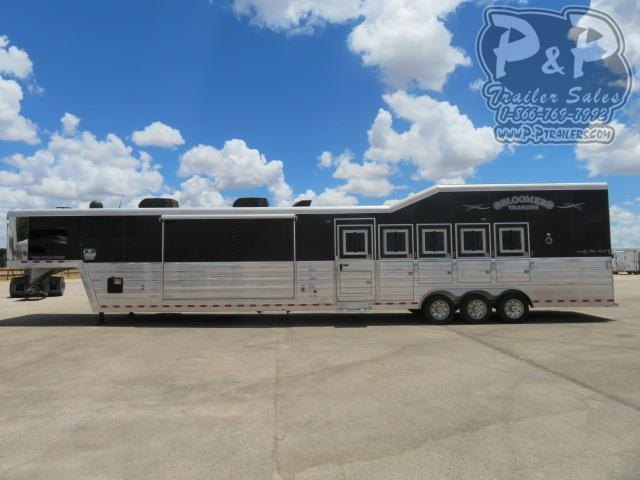 """2018 Bloomer Outlaw Conversion PC Load 5 Horse Slant Load Trailer 18'9"""" FT LQ With Slides w/ Ramps"""