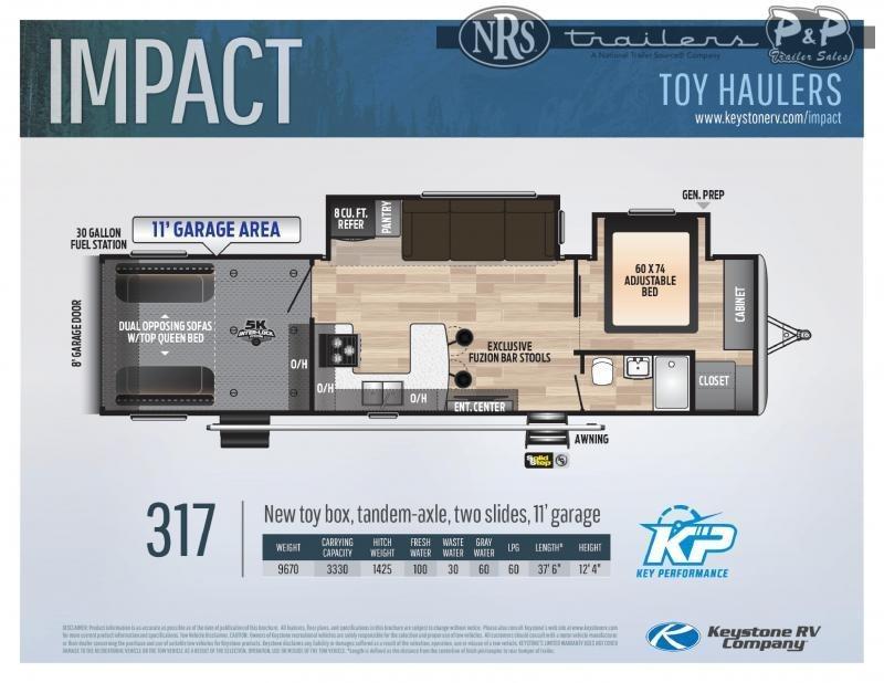 2021 Keystone RV Impact 317 37 ' Toy Hauler RV