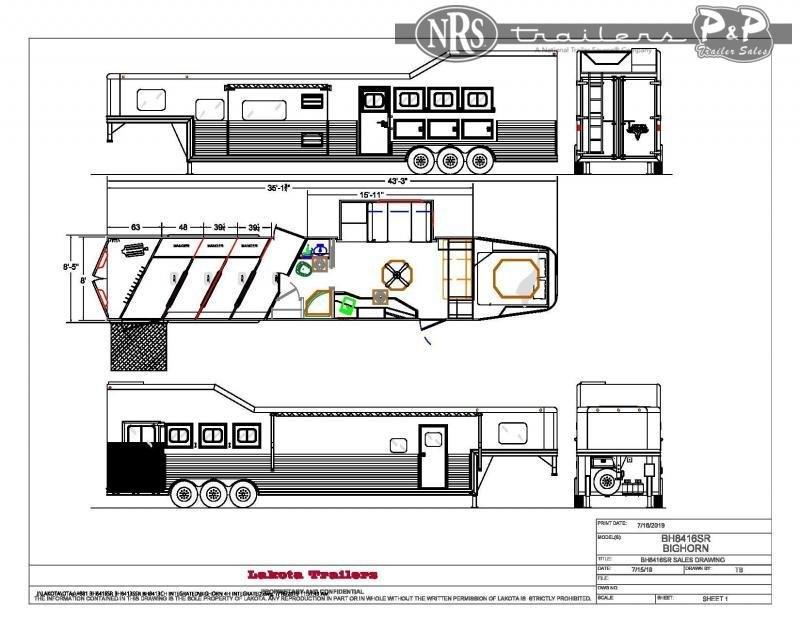 2021 Lakota Big Horn BH8416TSRRSL 4 Horse Slant Load Trailer 16 FT LQ w/ Slideouts