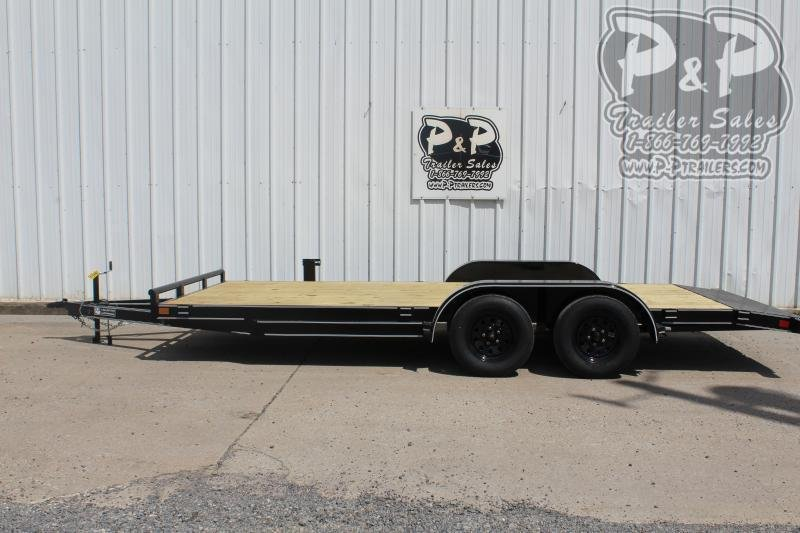2021 P and P PPWFCH18X83GDSR 18 x 83 Car Hauler 18 Flatbed Trailer