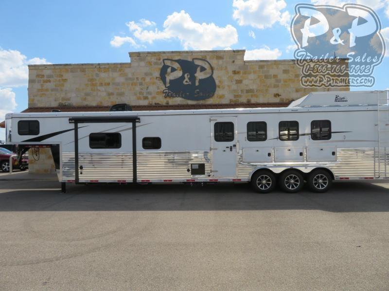 2021 Bison Trailers 8416RGRSL 4 Horse Slant Load Trailer 16 FT LQ With Slides w/ Ramps