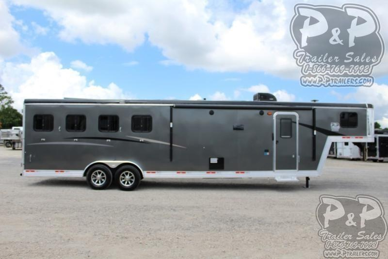 2020 Bison Trailers Trail Boss Slide-Out 7411TBSO 4 Horse Slant Load Trailer 0 FT LQ With Slides