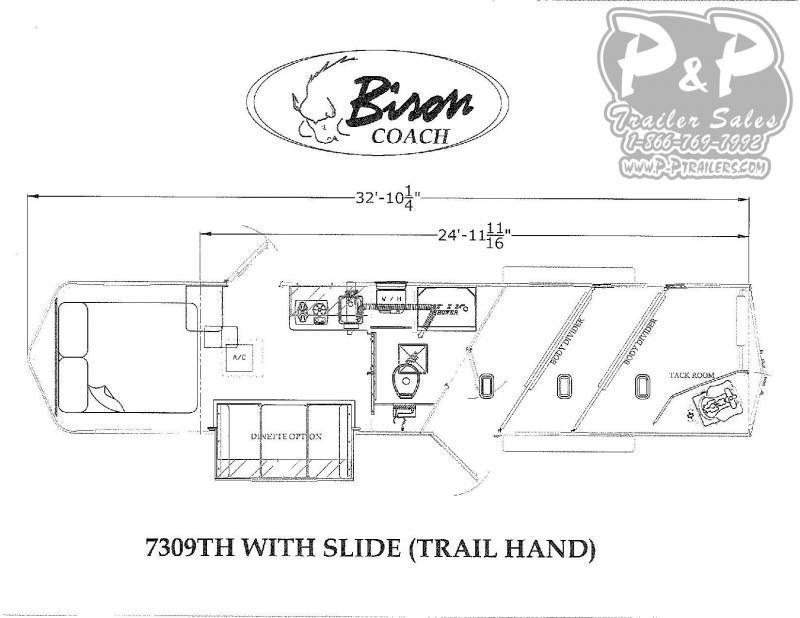 2021 Bison Trailers Trail Hand 3 Horse Slant Load Trailer 9 FT LQ With Slides